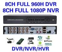 8 Channel 8CH Full 960H H.264 Recording Full 1080P NVR HDMI CCTV Standalone Hybrid DVR/HVR/NVR ONVIF Cloud network Mobile Phone
