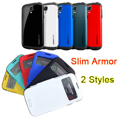 SGP SPIGEN Slim Armor S4 Phone Bag Case For Samsung Galaxy S IV i9500 S-View Flip Style Or Back Cover Style No Retail Package(China (Mainland))