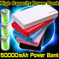TOP!! power bank 50000mAh portable charger 4 color External battery powerbank wholesale price Free shipping