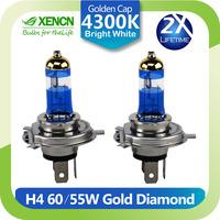 Double Lifetime XENCN H4 P43t 4300K 12V 60/55W Gold Diamond Light Car Headlights Bulbs UV Filter Halogen Lamp Free Shipping 2PCS