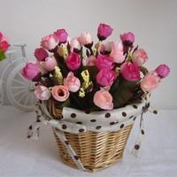 2014 Rushed Real Scrapbooking Rattan Round Basket Vase Artificial Set Silk Decorative Home Decor Wedding Decoration Floral Plant