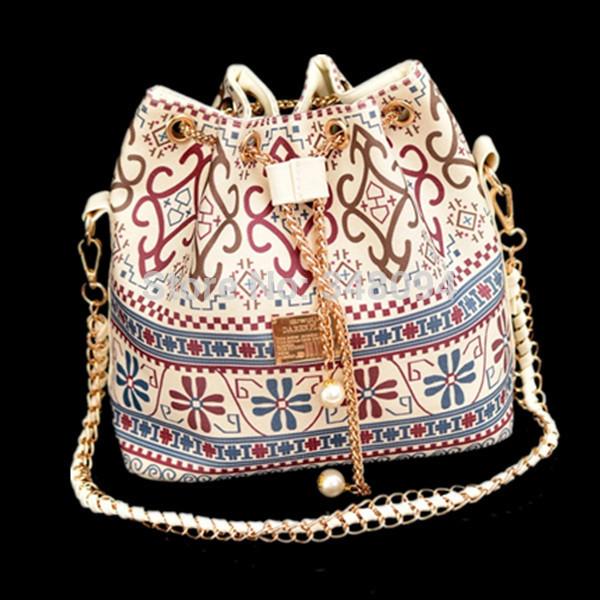 2014 Hot Sale High Quality 6 colors women's messenger bag crossbody shoulder bags Bohemia Print Chain Drawstring Bucket canvas(China (Mainland))