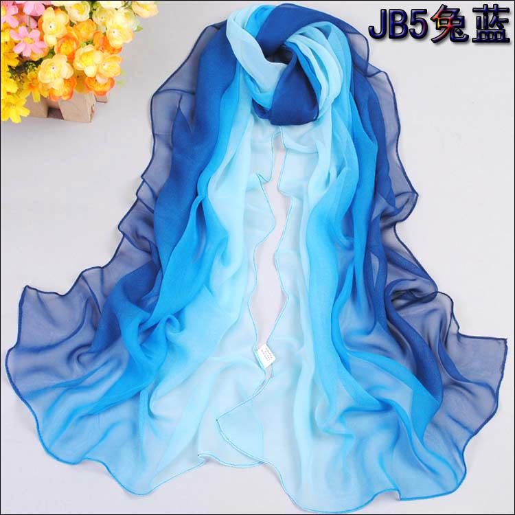 Nice Chiffon Scarf Women High Quality Gradual colors chiffon georgette silk scarves shawl female long design(China (Mainland))