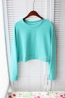 Womens Tops Fashion Summer 2014 Korean Harajuku Free Style Young Women Clothing Cotton T Shirt O-Neck Long Sleeve Crop Top Tees