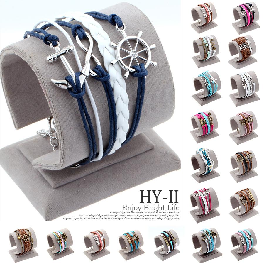 Hot Sale men Fashion jewelry anchor rudder love cross owl charm bracelets best friend friendship bracelet and bangles(China (Mainland))