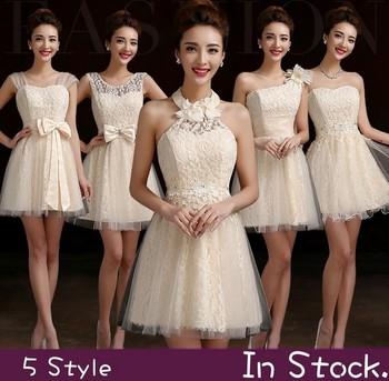 Розничная невесты платье вечернее платье 2014 новинка короткое дизайн с бантом узелок пром платья четыре стиля красный шампанское бесплатная доставка