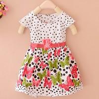Red and purple 2014 summer short sleeve dots stripe flower baby kids girls fashion dresses girl dress #010 SV002025
