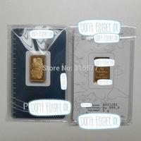 5 g Gold Bar/5 gram Gold Ingot (Non-magnetic)  SEALED PACKAGE, DIFFERENT SERIAL NUMBER (10pcs/lot)