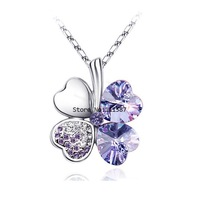 Good Lucky Retail 2014 Hot Selling Gold And Platinum Plated Four Leaf Clover Necklaces Lucky Crystal Jewelry B19 5274