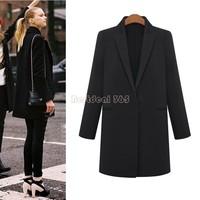 Drop Shipping Elegant Women Wool Blend Slim Long Sections One Button Winter Warm Coat Trench Outwear Jacket B20 CB031160