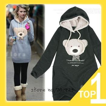 Hot sale Free shipping 2014 NEW women slim hoodie long top pullover coat Cute teddy bear korean style blue black pink Y0750