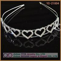 Free Shipping Gorgeous Pretty Trendy Heart Headband Rhinestone Hairband Customized