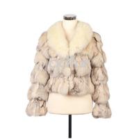 Fashion Genuine Natural Spliced Fox Fur Jacket Coat Female Short Real Fur Outwear Garment Winter Clothing QD10927