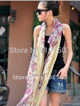 Designer 10pcs/lot  lady's  fashion print 100% cotton voile long scarf shawls  floral scarves shawls wrap