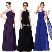 Fast shipping 09816 2014 New Line One Shoulder Chiffon Ruffles Padded Long Formal light blue Evening Dress