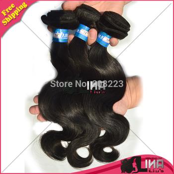 Queen Human Hair brazilian virgin hair extension 8inch-30inch 300g/lot  color 1b#, body weave , DHL free shipping