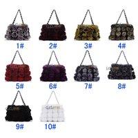 New 2014 Women Fashion Genuine Rabbit Fur Handbag with flowers lovely fashion fur chain women bag/ QD5811