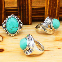 Fashion Jewelry Wholesale Lot 5pcs Vintage Look Tibet Alloy Silver Plated Assorted Turquoise Rings R194