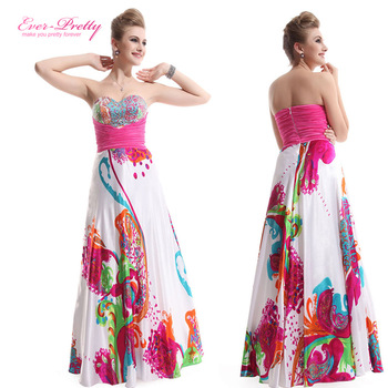 HE09633HP Strapless pleat Floral Printed prom dresses 2014 Длинный Evening Party ...