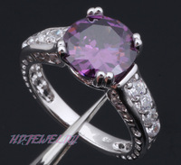 High Quality ! So Beautiful Amethyst 925 Sterling Silver Ring USA Size #7 #8 Fashion Jewelry Free shipping HR17