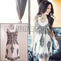 Newest Totem floral prints ladies' slim strap dress Classic Vintage Collar Exotic Summer Mini Dress Sext 3166
