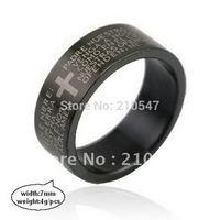 Wholesale-36pcs stainless steel black cross bible logo finger ringsjewelry Titanium steel jewelry JZ001