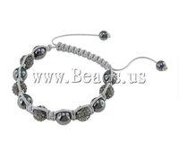 Fashion Shamballa Bracelet, white wax cord & hematite beads & rhinestone zinc alloy beads, Sold per 7.5- Strand
