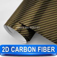 Gold 2D Carbon Fiber Vinyl 1.52*30m Glossy High Quality Calendared PVC Car Wrap Film Free Shipping Wholesale