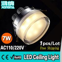 Free Shipping AC110/220V 7W LED Ceiling Lamp With Round Acrylic Mask