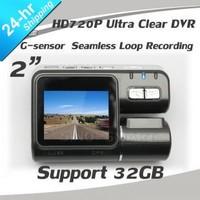 2 Inch Portable 1 Mega pixel HD Car DVR Camera Seamless Recording 120 View Angle 300Deg Screen Rotated 1280*720 G-sensor