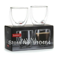Free Shipping 4Pcs/lot Bodum Pavina Double Wall shot Glass 80ml,Tumbler Glass Coffee Cup,Double Wall Espresso Glass,Novelty(China (Mainland))