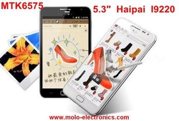 "Haipai I9277 MTK6577 android 4.1 dual core android phone, H7100 with 1GB RAM dual core 3G phone 5.3"" HD capacitive freeshipping"