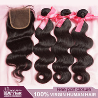 1 PC Lace Closure With Bundles 3PCS Brazilian Virgin Hair Body Wave 3.5*4 free style lace closure 8-30inch can Mix any Lengths