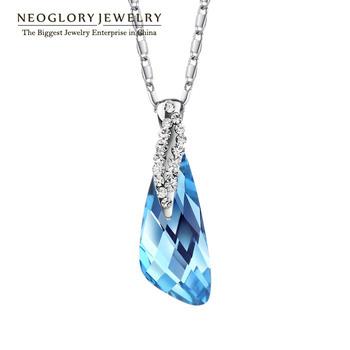 Neoglory Blue Fashion Rhinestone Crystal Necklaces & Pendants Wedding Jewelry Accessories for Women Brand Statement Bijoux 2014