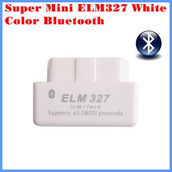 New Arrival Code reader Diagnostic Tool Super mini ELM327 Bluetooth OBD-II OBD Can White color 1.5 version  with retail box