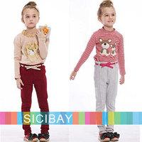 Girls Fashion Pants Free Shipping Little Girls Slim Pants Stylish Belt Trousers,Kids Beauty Wear K0301