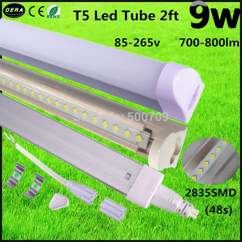 Free shipping2pcs Led tube T5 600mm 9w 2ft led tube t5 3pin led tube t5 light 600-800lm led fluorescent tube t5 lamp Hot selling(China (Mainland))