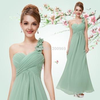 HE09768 Ярко синий Flowers One Плечи Шифон Padded Длинный Bridemaid Dresses 2013