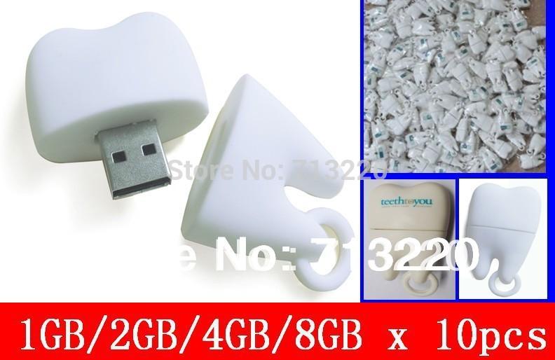 Cheap Price 10pcs/lot X 2GB/4GB/ USB Flash Drive Promotion BestGifts 8gb Tooth Pen Drive 1gb USB Stick Free Shipping(China (Mainland))