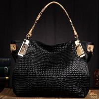 100% GENUIINE LEATHER Snake Grain Handle Designer Handbags Fashion 2014 New Luxurious Stone Grain Shoulder Bags For Women T0206