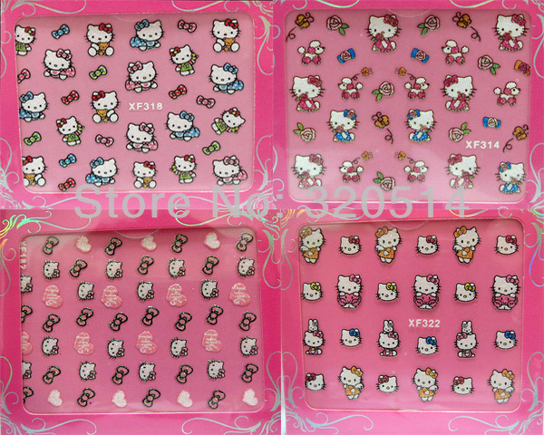 Free Shipping 24SheetsX24Mixed Designs 3D Hello Kitty Nail Art Stickers Cartoon Cute Design Nail Decals Hello Kitty Patch MY-056(China (Mainland))