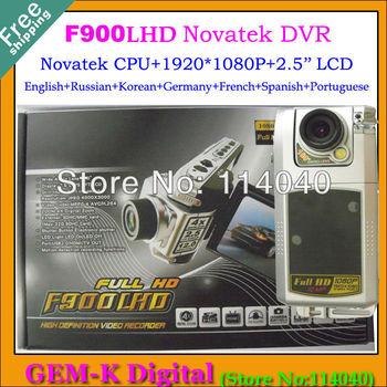 F900LHD Car dvr 1080P F900 car dvr 2.5'' LCD Night Vision Car black box Free shipping+Novatek CPU+English/Russian/many Language