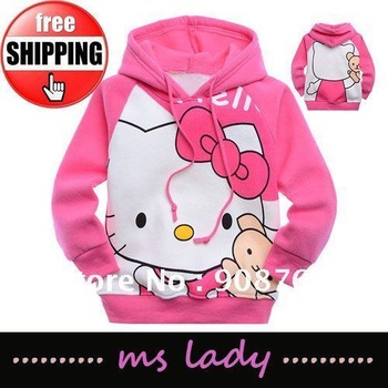 Free shipping lovely hello kitty pattern cotton pink girl hoodies for spring and autumn HongKong airmail
