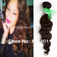 Free Shipping 6A Quality Unprocessed Peruvian Virgin Hair Loose Wave 3pcs Lot Natural Black Color No.PE60-008