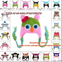 21 Color effective HOT SALE  retail Free shipping  Handmade Knitted Crochet Baby Hat owl and monkey hat with ear flap