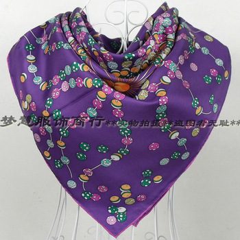 "2015 Christmas Gift Twill Scarf ""H"" Style Pattern Hot Sale Women 100% Silk Square Scarf Printed For Autumn Winter  90*90cm"