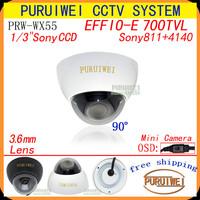 "100% Original 1/3"" Sony Effio-e 700tvl HD 960H 3.6mm mini with OSD menu Dome wide-angle Security CCTV Camera.Free shipping!"