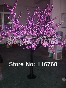 High Quality-1248LEDs +2M High + Pink LED Cherry Tree Lights + LED Night Blossom Trees + Free Shipping