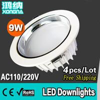 Free Shipping High Lumen 100~11 lm/W LED 9W LED Downlight, Epistar Chip, AC85-265V, Warm White/Neutral White/Cold White