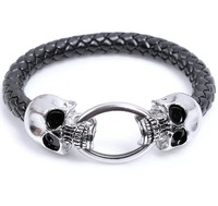 Free shipping 12pcs/lot Silver-Plated Metal Alloy Skull Bracelet Pulseiras Snake Leather Strap Men Jewelry QNW0306